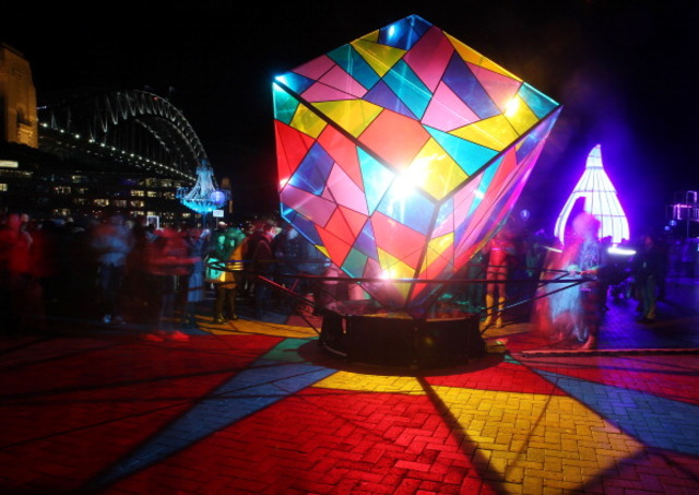 SYDNEY, AUSTRALIA   MAY 25: People Gather Around Light Displays In The  Rocks As Part Of Vivid Sydney On May 25, 2012 In Sydney, Australia. Amazing Pictures
