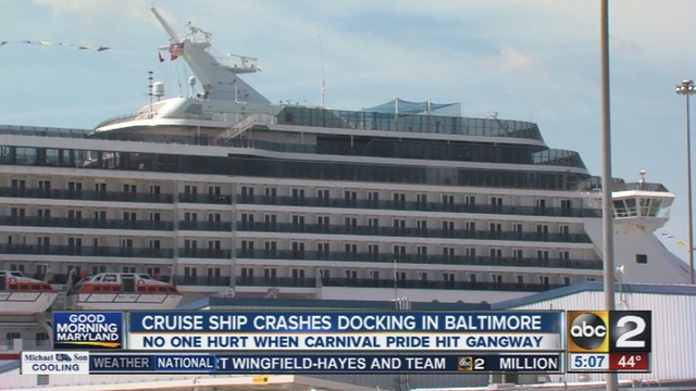 Cruise Ship Crashes Into Baltimore Pier ABCNewscom - Cruise ships that leave from baltimore md