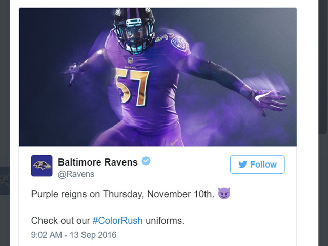 color rush jerseys ravens