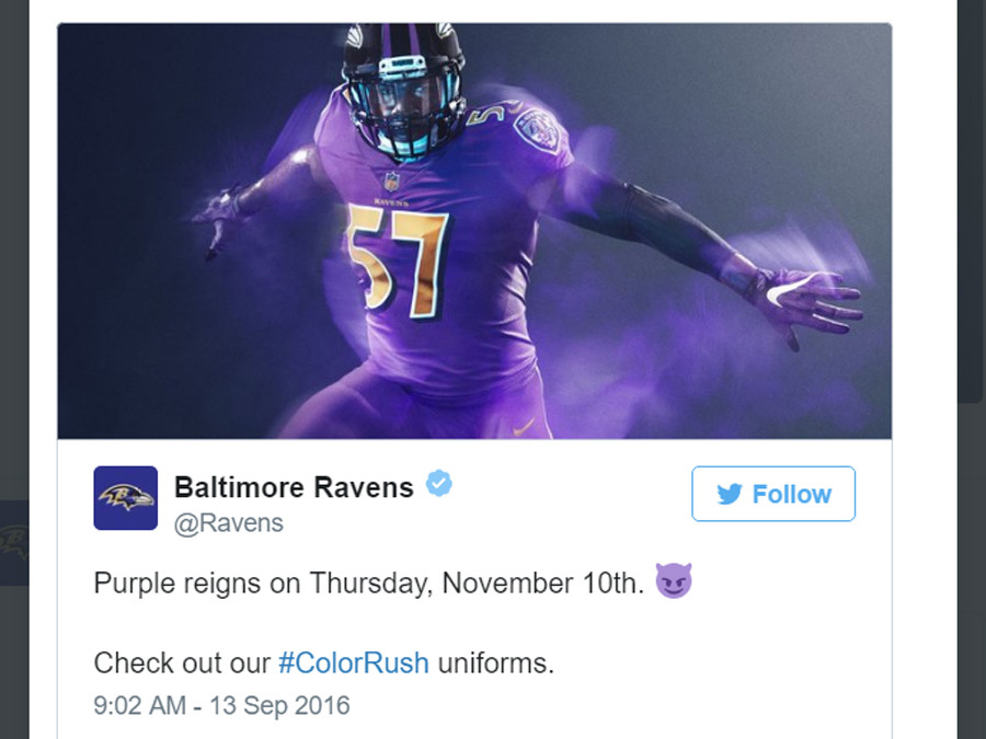 a1004c9ee ravens color rush Nike player game jersey 2016