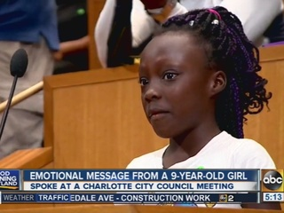 Girl cries over police shootings in Charlotte