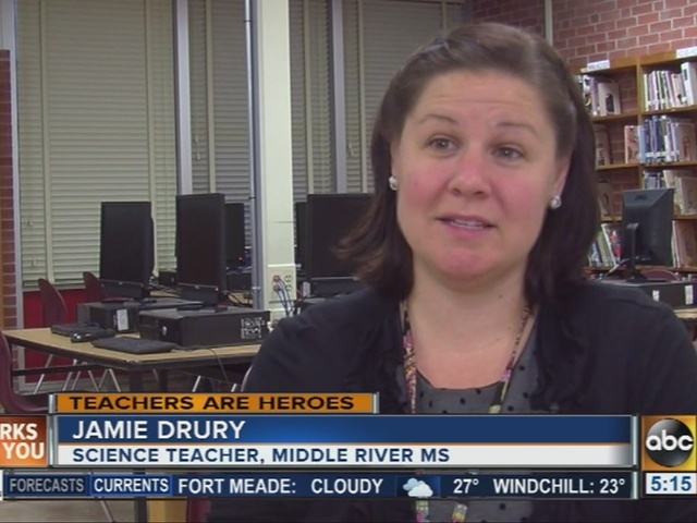 Middle school science teacher Jamie Drury works beyond the textbook to…