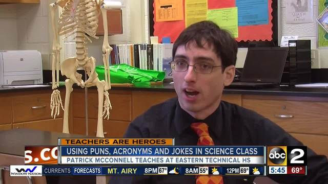 Eastern Tech HS science teacher Patrick McConnell uses puns- acronyms to…