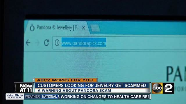 Fake website stealing money from Pandora jewelry customers