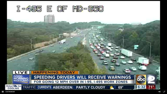 Warning period starts for speed cameras on I-95 & I-495 - ABC2News.com