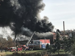 Vacant warehouse catches fire in Baltimore