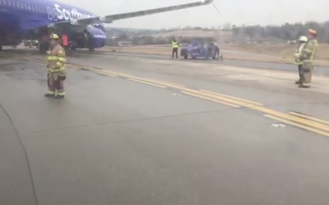 Southwest Airlines jet skids on taxiway before takeoff at BWI Airport