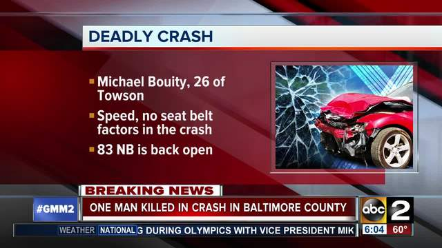 Towson man dead after crash on I-83