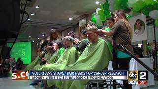 Volunteers shave their heads for cancer research