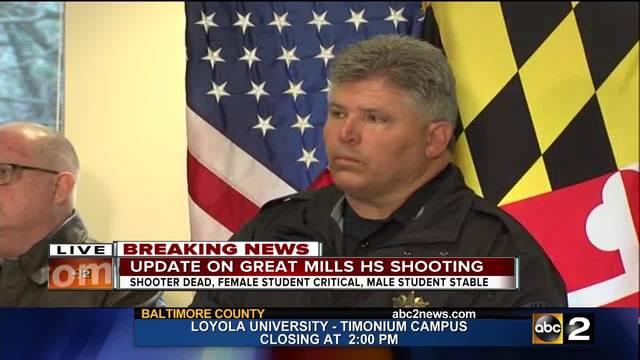 Deputies provide an update following a shooting at a Maryland High School