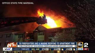 50 firefighters & a Marine respond to fire
