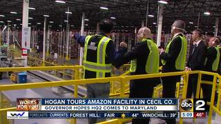 Hogan tours Amazon facility in Cecil County