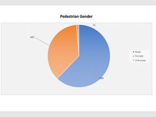 Hit & Run pedestrians by gender