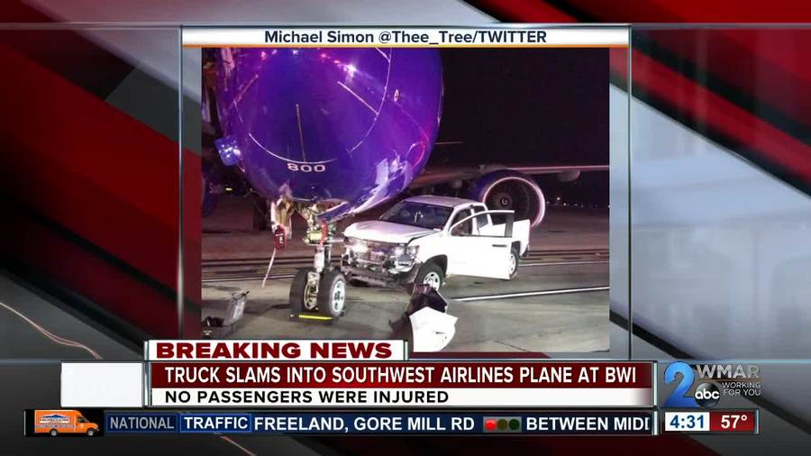 Truck crashes into Southwest Airlines plane at BWI - WMAR2NEWS