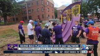 Ravens help build playground for kids