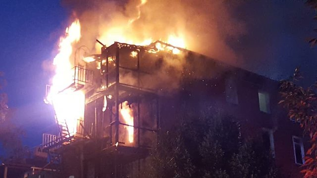 Severe damages to apartment complex after fire