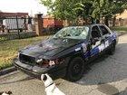 Destroyed police cruiser actually a movie prop