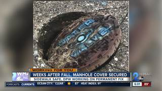 Weeks after fall, manhole cover secured