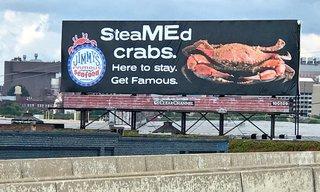 Jimmy's Seafood blasts crab billboard