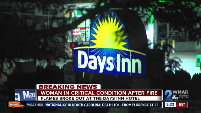 Hotel fire leaves woman in critical condition