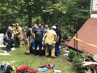 Deck falls in Ellicott City; Fire & EMS on scene