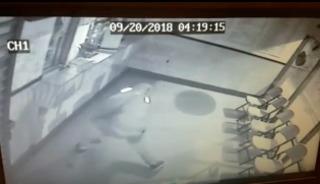 Bandit throws rock at window, rock strikes back
