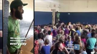 School goes big to acknowledge their custodian