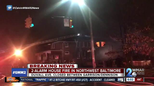 Crews battle 2-alarm house fire in NW Baltimore