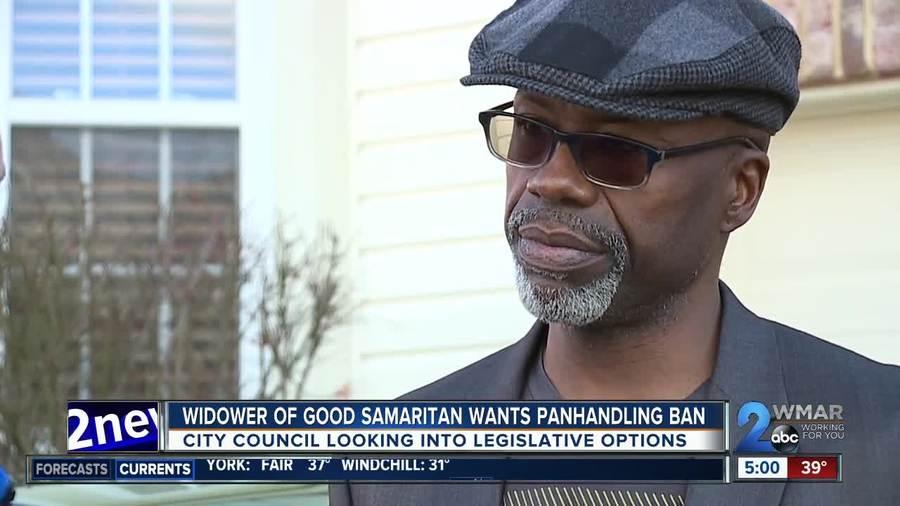 Widower argues to ban panhandling in Baltimore