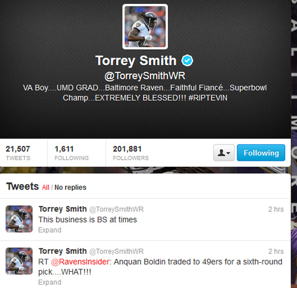 Torrey Smith tweets about Anquan Boldin